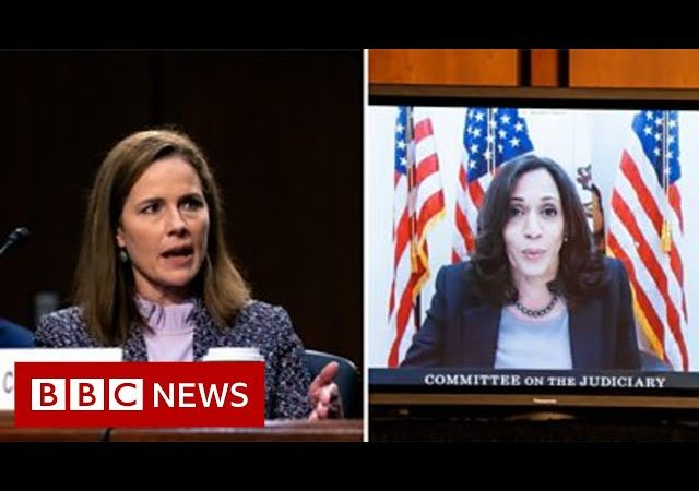 Kamala Harris asks Amy Coney Barrett: 'Do you believe climate change is happening?' – BBC News